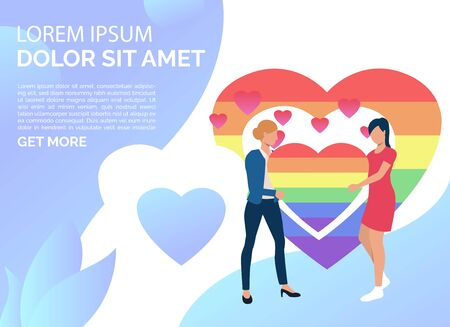 Two girls holding rainbow heart. Lesbian couple with LGBT symbol and rainbow frame. Homosexuality concept. Vector illustration can be used for presentation slides, landing pages, posters