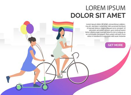 Two girls riding bike and scooter and holding LGBT flag and balloons. Lesbian, gay, activity. Homosexuality concept. Vector illustration can be used for presentation slides, landing pages, posters