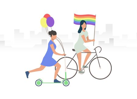 Two girls with LGBT flag and balloons riding bike and scooter. Female LGBT activists. Homosexuality concept. Vector illustration can be used for topics like LGBTQ pride, gay, community