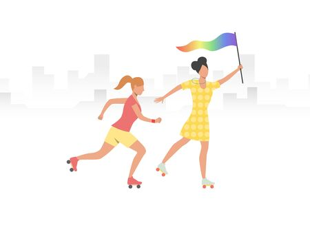 Couple of roller skaters with rainbow flag. Women, lesbian, LGBT community. Homosexuality concept. Vector illustration can be used for topics like LGBTQ pride, parade, festival, activity