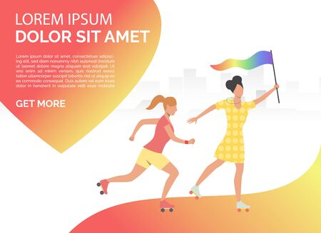 Female couple with rainbow flag roller-skating. Women, gay, lesbian, LGBT community. Homosexuality concept. Vector illustration can be used for presentation slides, landing pages, posters Illustration