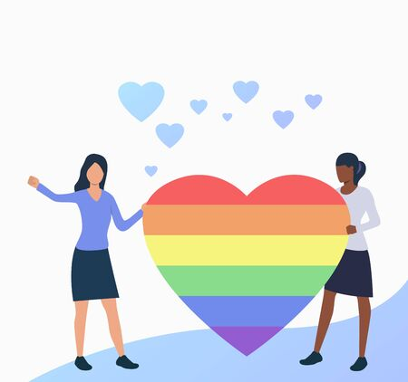 Lesbian couple holding rainbow heart. Gay people with LGBT symbol. Homosexuality concept. Vector illustration can be used for topics like LGBTQ pride, gay, love Illustration