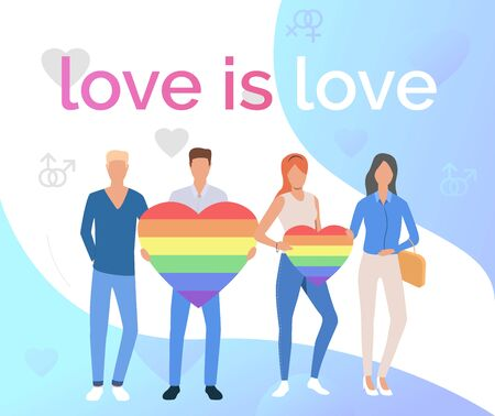 Love is Love pride flyer design. Gay couples with rainbow hearts. LGBTQ pride concept. Vector illustration can be used for topics like diversity, LGBT community, proud