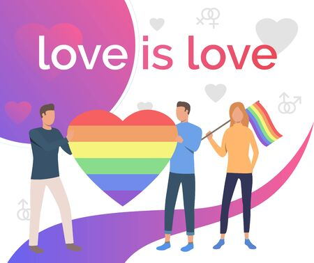 Love is Love pride flyer design. Men and woman holding rainbow heart and flag. LGBTQ pride concept. Vector illustration can be used for topics like diversity, LGBT community, homosexuality