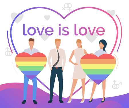 Love is Love text in heart shaped frame. Gay and lesbian couples with rainbow hearts. LGBTQ pride concept. Vector illustration can be used for topics like diversity, LGBT community, proud Illustration