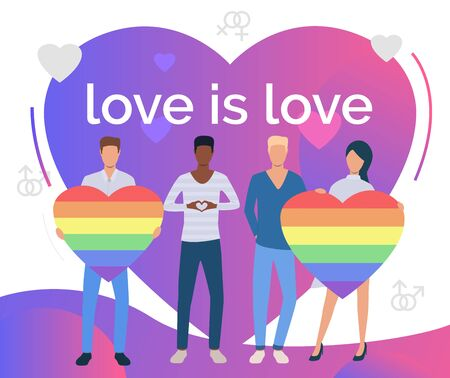 Love is Love text on purple heart. Mix raced group of people with rainbow hearts. LGBTQ pride concept. Vector illustration can be used for topics like diversity, LGBT community, proud
