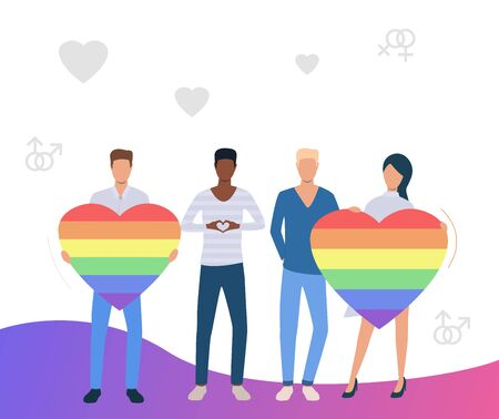 Men and woman holding rainbow hearts. LGBT community supporting homosexual couples. LGBTQ pride concept. Vector illustration can be used for topics like diversity, equality, proud
