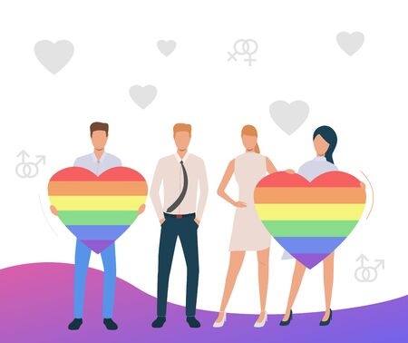 Two homosexual couples advertising LGBT pride. Men and women holding rainbow hearts. Homosexuality concept. Vector illustration can be used for topics like LGBTQ, gay, lesbian Illustration
