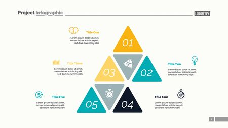 Five options process chart slide template. Business data. Step, financial, design. Creative concept for infographic, presentation, report. Can be used for topics like marketing, finance, research. Иллюстрация