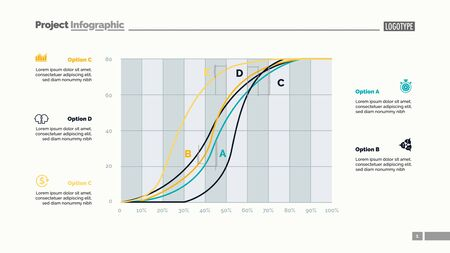Five line charts slide template. Business data. Development, progress, design. Creative concept for infographic, report. Can be used for topics like research, analytics, banking. Illustration