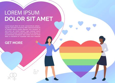 Two women holding rainbow heart. Female gay couple with LGBT symbol. Homosexuality concept. Vector illustration can be used for presentation slides, landing pages, posters