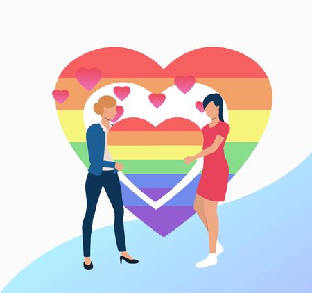 Two women holding rainbow heart. Female gay couple with LGBT symbol. Homosexuality concept. Vector illustration can be used for topics like LGBTQ pride, wedding, lesbian