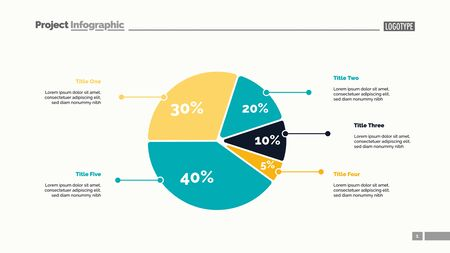 Five sectors pie chart slide template. Business data. Review, assessment, design. Creative concept for infographic, presentation, report. For topics like research, finance, analysis. Illustration