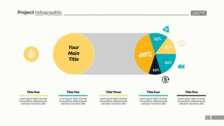 Five sectors pie chart slide template. Business data. Comparison, diagram, design. Creative concept for infographic, presentation, report. Can be used for topics like marketing, finance, analytics.