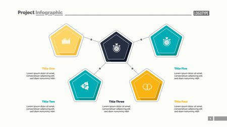Five pentagons process chart slide template. Business data. Workflow, infochart, design. Creative concept for infographic, presentation, report. For topics like management, training, teamwork.