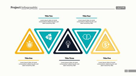 Five step triangle infographic template. Business data. Process, layout, design. Creative concept for infographic, presentation, report. For topics like marketing, workflow, analysis Illustration