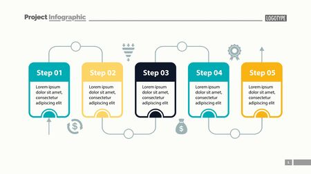 Five steps process chart slide template. Business data. Flow, diagram, design. Creative concept for infographic, presentation. Can be used for topics like management, workflow, teamwork. Illustration