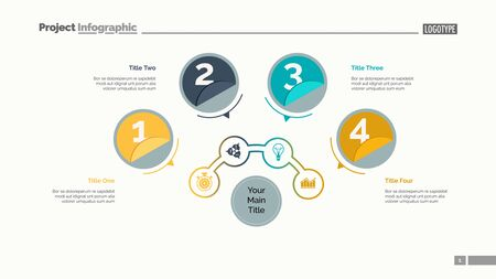Four circles process chart slide template. Business data. Structure, diagram, design. Concept for infographic, presentation, report. Can be used for topics like marketing, recruitment, analytics Illustration