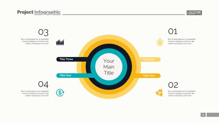 Four circles process chart. Business data. Infochart, step, design. Creative concept for infographic, templates, presentation, marketing. Can be used for topics like marketing, planning, teamwork. Ilustração