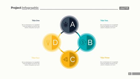 Four circles process chart. Business data. Option, diagram, design. Creative concept for infographic, templates, presentation, report. Can be used for topics like management, training, banking. Illustration