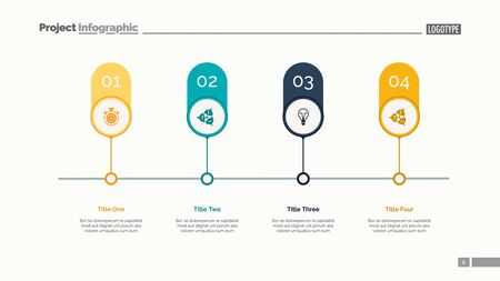 Four options on timeline slide template. Business data. Graph, diagram. Creative concept for infographic, templates, presentation, report. Can be used for topics like management, teamwork, marketing