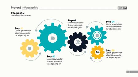 Five step process chart with cogwheel design. Element of chart, diagram, slide templates. Concept for inforgraphic, annual report, presentation. Can be used for topics like business, finance, banking