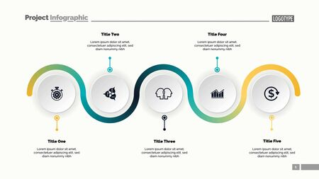 Five step process chart slide template. Business data. Progress, diagram, design. Creative concept for infographic, report, presentation. Can be used for topics like workflow, marketing, management Ilustração
