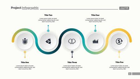 Folienvorlage für fünf Prozessdiagramme. Geschäftsdaten. Fortschritt, Diagramm, Design. Kreatives Konzept für Infografik, Bericht, Präsentation. Kann für Themen wie Workflow, Marketing, Management verwendet werden