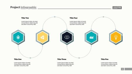 Five step process diagram slide template. Business data. Scheme, flowchart, design. Creative concept for infographic, presentation, report. Can be used for topics like marketing, workflow, technology