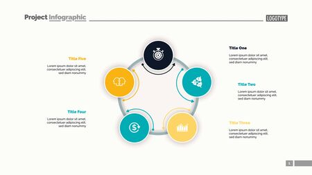 Five circles process chart slide template. Business data. Option, infochart, design. Creative concept for infographic, presentation, report. For topics like management, production, finance.