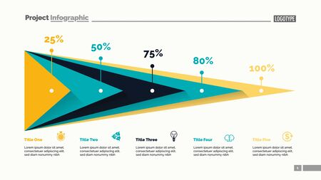 Five triangles percentage chart slide template. Business data. Percent, stage, design. Creative concept for infographic, presentation, report. For topics like finance, analytics, statistics. Illustration