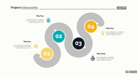 Four points process chart slide template. Business data. Point, infochart, design. Creative concept for infographic, presentation, report. Can be used for topics like management, recruitment, banking.