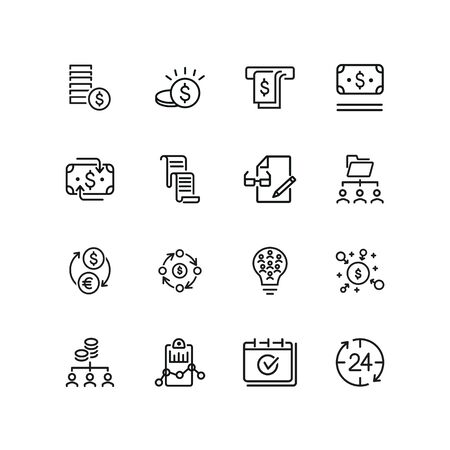 Business funding line icon set. Money, brainstorming, report. Business concept. Can be used for topics like finance, income, money making