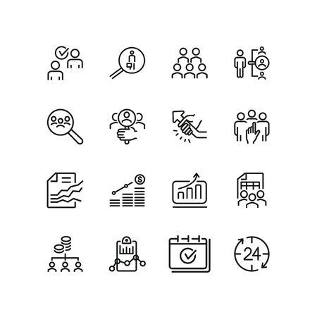 Jeu d'icônes de ligne de recrutement d'entreprise. Employés, sélection, rapport financier. Notion de ressources humaines. Peut être utilisé pour des sujets tels que l'emploi, l'efficacité, la gestion du personnel