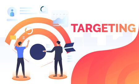 Business people setting financial target. Planning, management, strategy concept. Presentation slide template. Vector illustration can be used for topics like business, finance, targeting