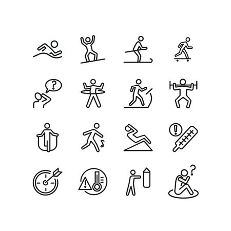 Healthy lifestyle line icon set. Swimming, skiing, gym. Activity concept. Can be used for topics like sport, fitness, healthcare 일러스트
