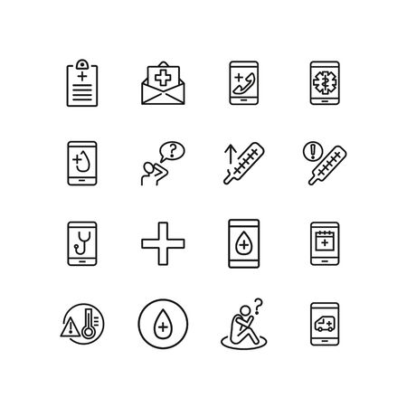 Medical app line icon set. Insurance, high body temperature, ambulance call. Medicine concept. Can be used for topics like emergency, disease, online consulting