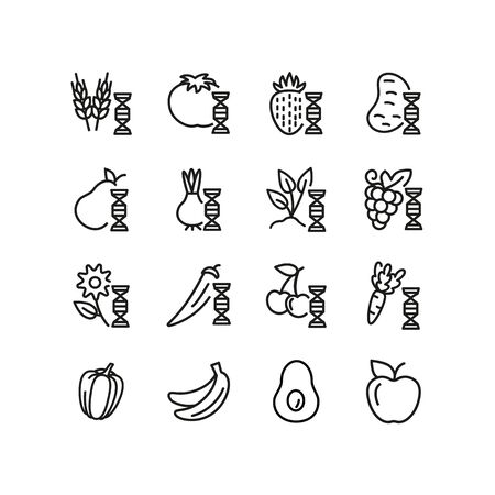 Modified food line icon set. Genetically modified fruit, vegetables, wheat. Food concept. Can be used for topics like food industry, agriculture, genetics Çizim