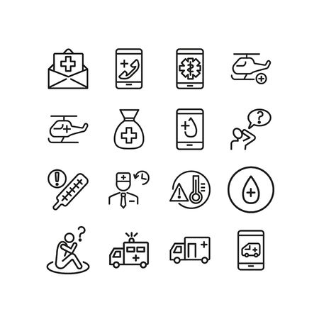 Online ambulance line icon set. Van, medical helicopter, hotline, call. Medicine concept. Can be used for topics like emergency, urgent help, accident Vetores