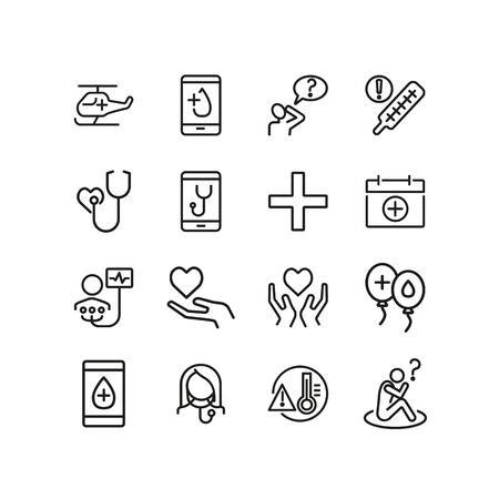 Online medical aid line icon set. Smartphone, call, ambulance helicopter, volunteer. Medicine concept. Can be used for topics like charity, blood donation, examination Reklamní fotografie - 124728585