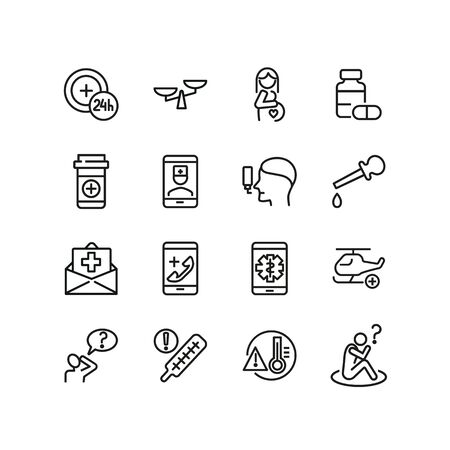 Online medical help line icon set. High body temperature, insurance, painkiller. Medicine concept. Can be used for topics like first aid, flu, treatment