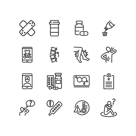 Online medical service line icon set. Drug, syrup, consulting pediatrician. Medicine concept. Can be used for topics like suffering from pain, treatment, cure, disease Ilustracja
