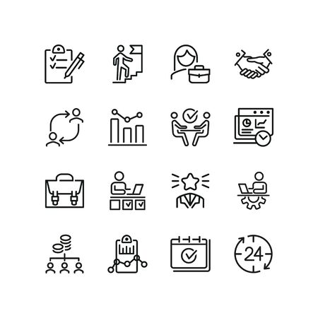 Partnership line icon set. Handshake, meeting, briefcase. Business concept. Can be used for topics like cooperation, teamwork, working on project