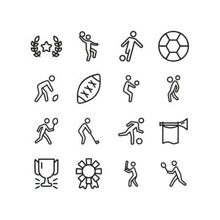 Playing game line icon set. Soccer ball, rugby, baseball. Activity concept. Can be used for topics like sport, match, championship