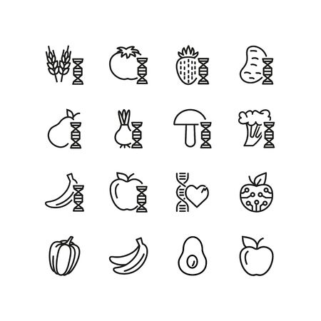 Enhanced food line icon set. Genetically modified fruit, vegetables, wheat. Food concept. Can be used for topics like biotechnology, farming, science