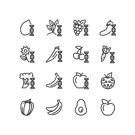 Food technologies line icon set. Sprout, fruit, dna spiral, vegetables. Food concept. Can be used for topics like genetics, biotechnology, food industry