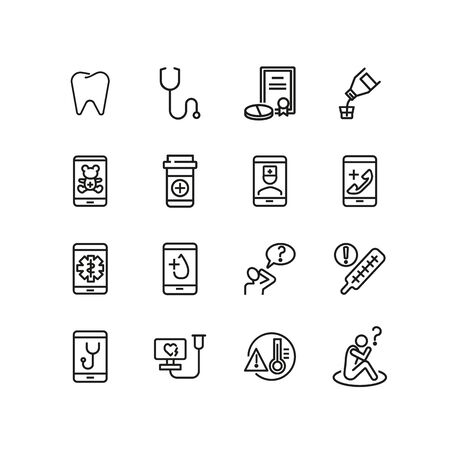 Health app line icon set. Smartphone, doctor call, test result. Medicine concept. Can be used for topics like medical service, urgent help, online consulting Ilustracja