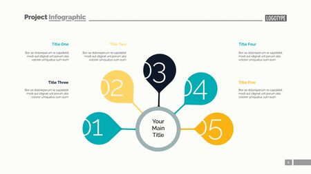 Five steps strategy slide template. Business data. Graph, diagram. Creative concept for infographic, templates, presentation, report. Can be used for topics like management, training, report