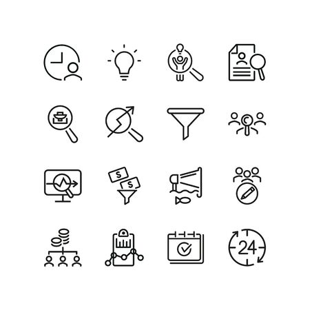 Web marketing line icon set. Announcement, idea, target audience, money filter. Business concept. Can be used for topics like SEO, internet advertising, analysis Ilustracja