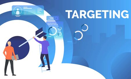 Business men setting arrow in business target. Planning, management, strategy concept. Presentation slide template. Vector illustration can be used for topics like business, finance, targeting Foto de archivo - 124689340